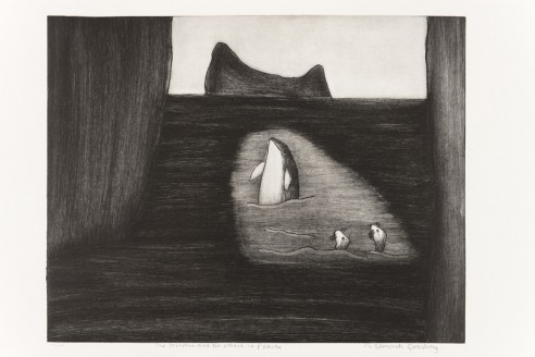 The Dolphin and otters in praise<br><span>1989, 44x57cm, Etching ed 85</span>